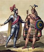 HERNAN CORTES WITH MONTEZUMA II