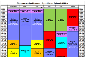 CCES Master Schedule 9:00 a.m. - Noon