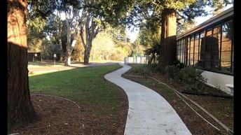 New sidewalk along front parking lot