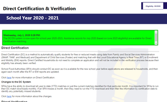 Direct Certification 2021 is Now Available!