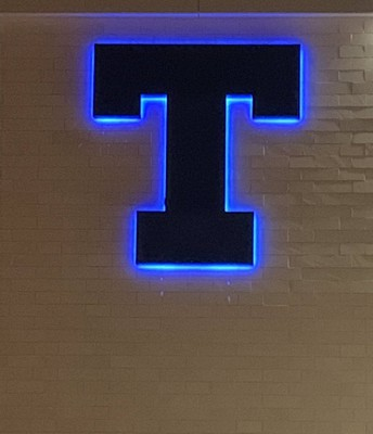 BIG Blue T on the West side of Temple High School