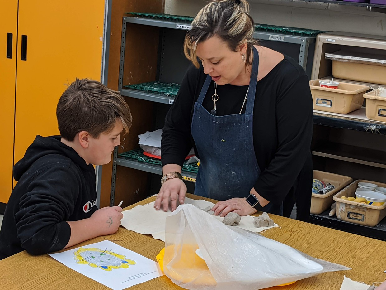 Chardon Middle School 5th-grade student with Mrs. Kristie Heron (Art Class)