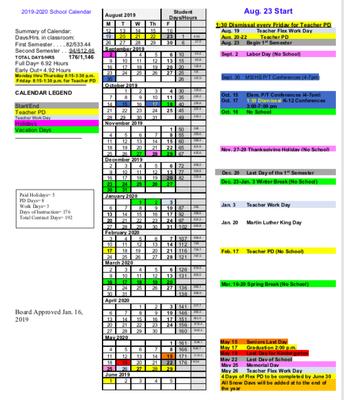 19-20 School Calendar