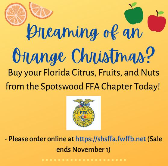 Flyer for FFA Fruit Sales.