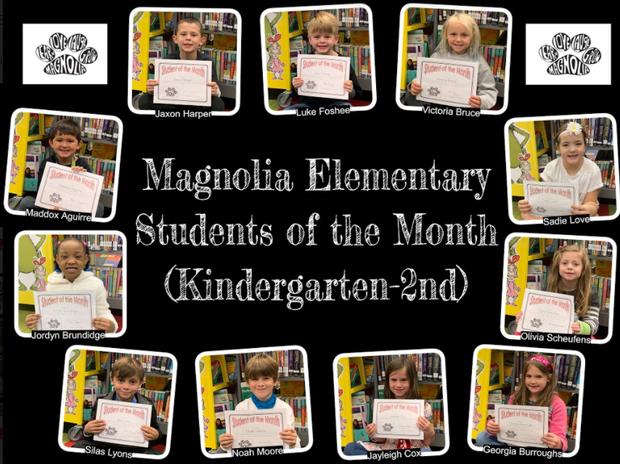 Kindergarten - 2nd grade students of the month
