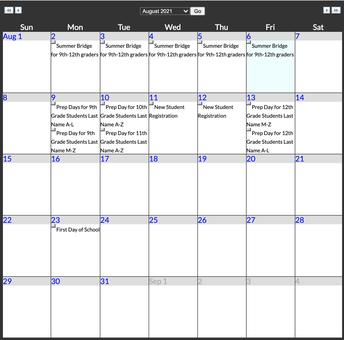 CAST STEM Calendar Highlights