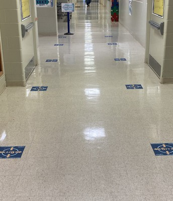 Floor Tiles Mark Social Distancing