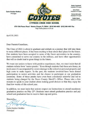 Senior Prank Letter