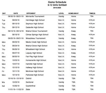 2019 Varsity Softball Schedule