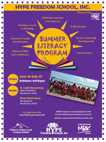 HYPE FREEDOM School Summer Literacy Program Registration is Open