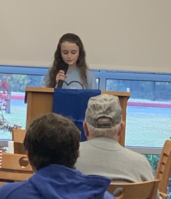 Allison Robinson Reads an Essay to the Veterans
