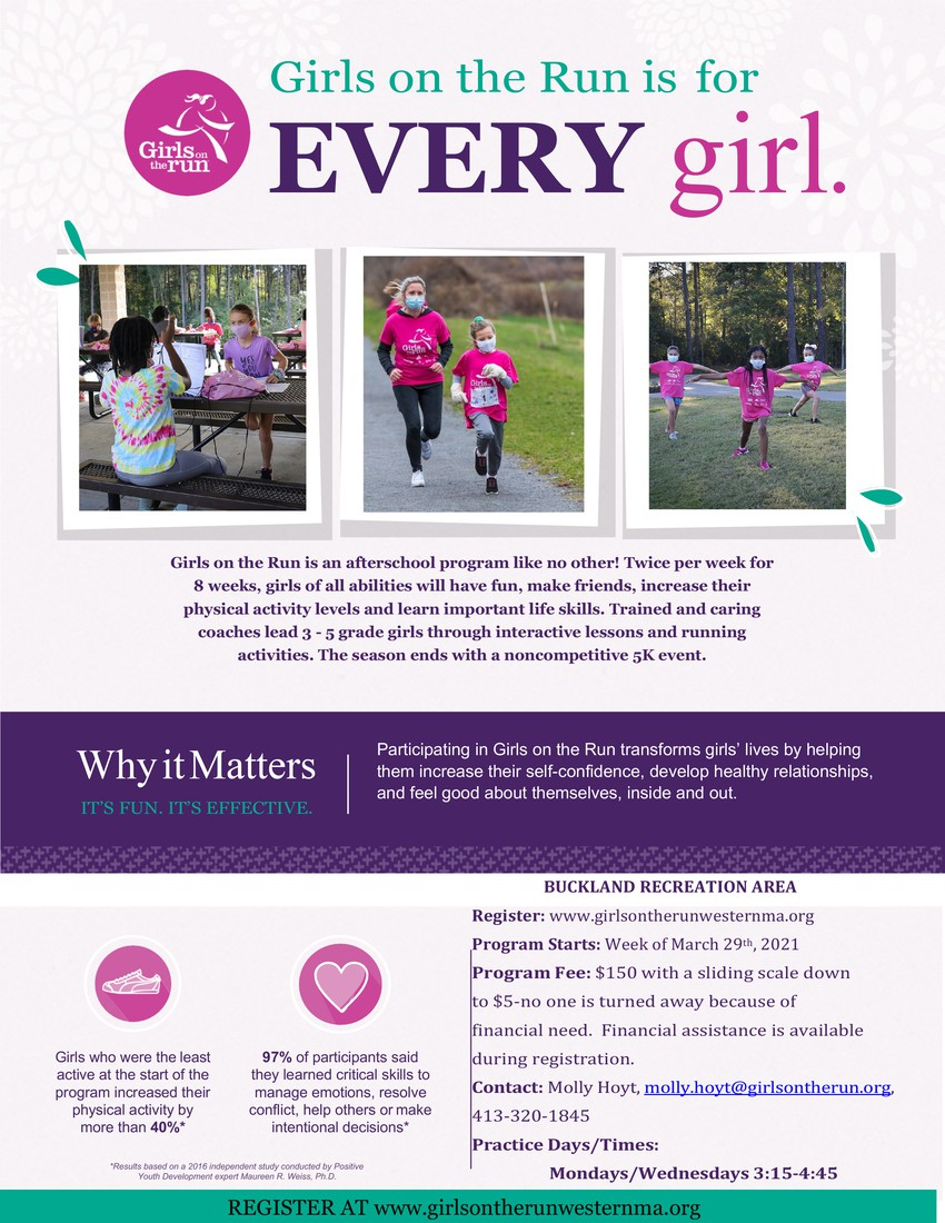 Girls on the run flyer. Visit website for all the details!
