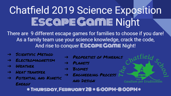 Chatfield 2019 Science Exposition Escape Game Night