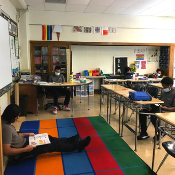 Students reading independently.
