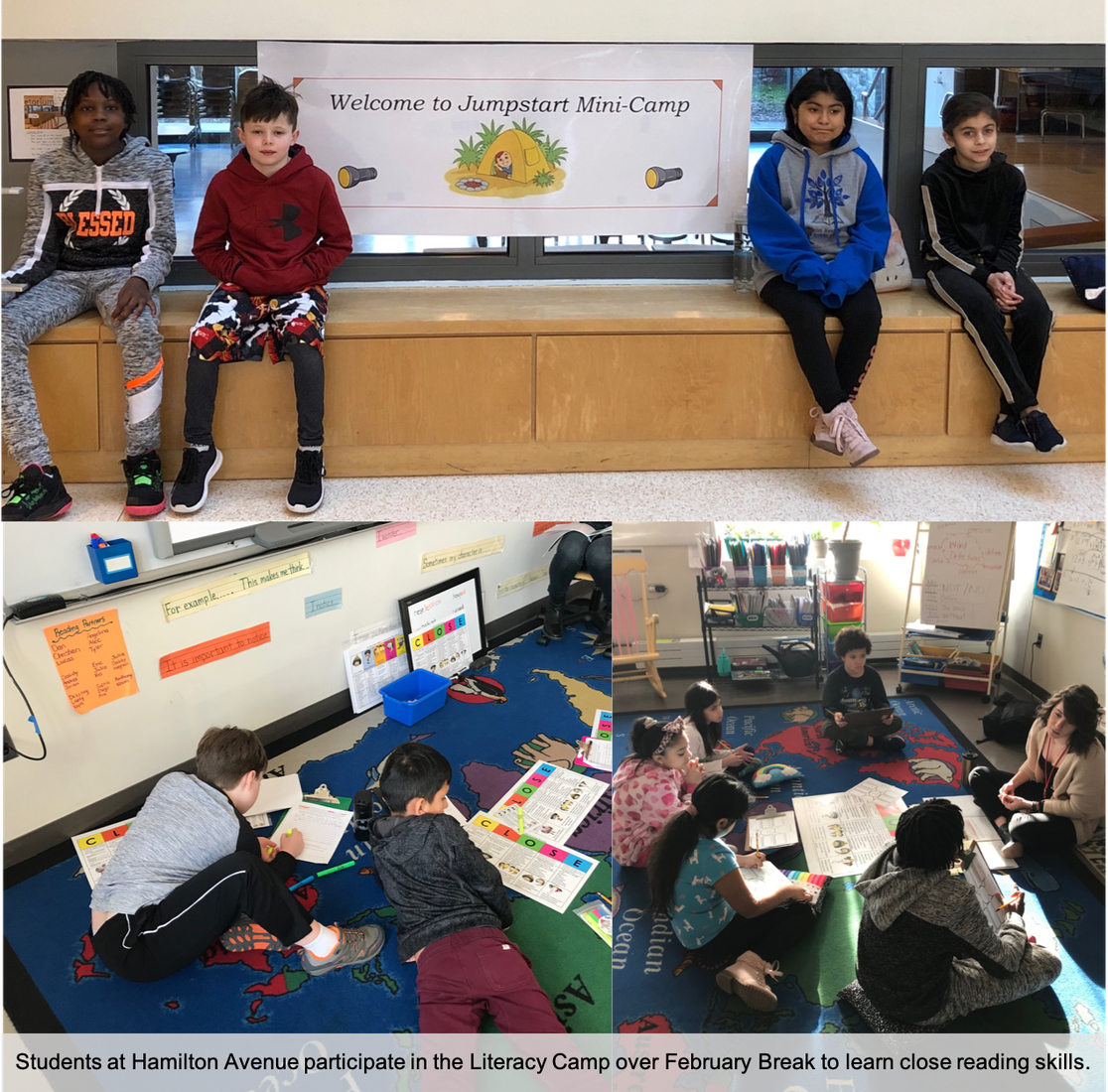 Students at Hamilton Avenue School participate in a Literacy Camp over February Break to learn skills for close reading.