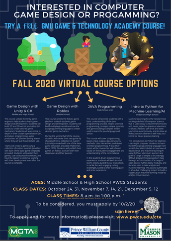 FREE Student Classes in Computing through Mason Game and Technology Academy (MGTA)