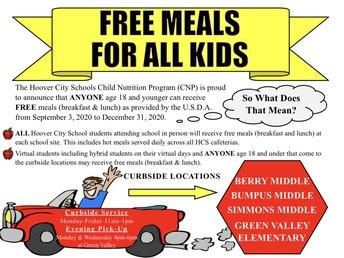 FREE MEALS FOR ALL KIDS UNTIL DEC.31ST