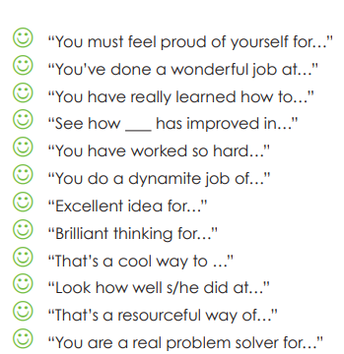 Some Starters for Giving Positive Feedback and Encouragement