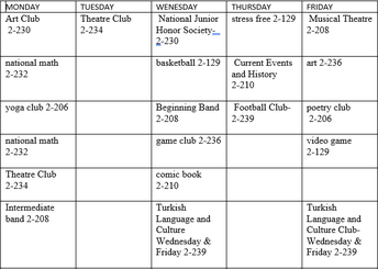 5th and 6th Grade club Schedule