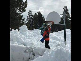 CES students dunking! (With some help from 4-5' of snow!)