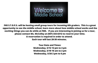 5th Grade Students & Parents - Sign up to Tour the Faribault Middle School