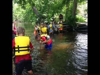 Seining in the river