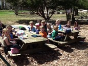 Eating lunch outside.