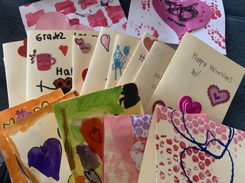 Our students were busy making Valentine's Day cards for community members that support us!