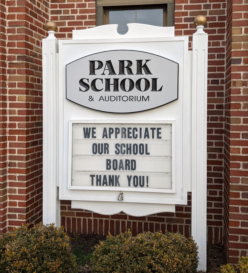Park Elementary marquee - BOE Thank You Message