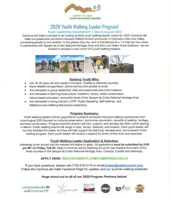 Caminos del Valle Youth Walking Leader Program - Summer Job for youth 16-18
