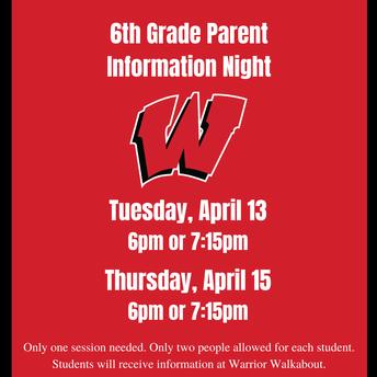6th Grade Parent Information Nights