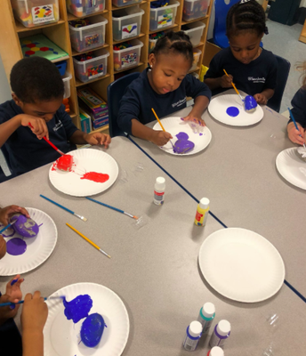 PreK-A, Mrs. O'Sullivan's class painting their Peace rocks