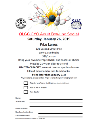 OLGC CYO Adult Bowling Social