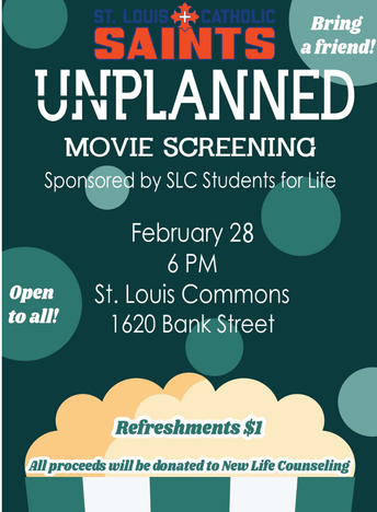Students for Life Sponsoring UNPLANNED Movie Screening Feb. 28