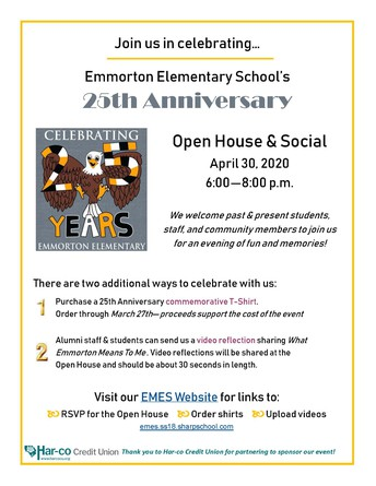 Save the Date - Emmorton Elementary School's 25th Anniversary!