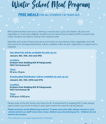 Free 5 Day Meal Kits Pick Up Times Changed