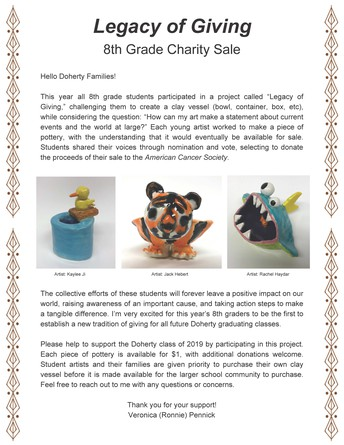 Doherty Middle School Pottery Fundraiser