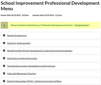School Improvement PD Menu