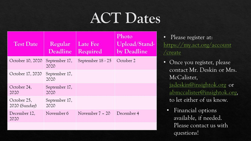 ACT Registration Link