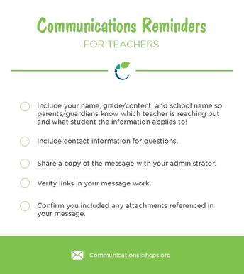 Communications Reminders for Teachers