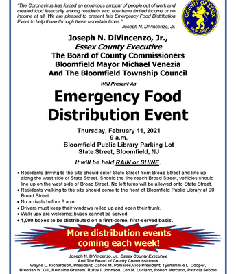 Emergency Food Distribution Event, Thurs., 2/11