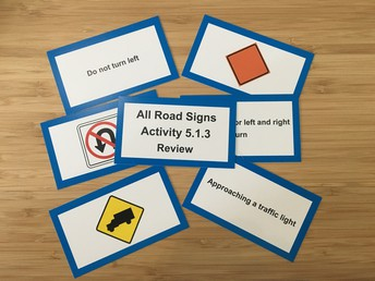 Color coded road sign flashcards