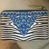 jeweled zebra clutch/pouch