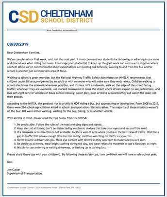 Pedestrian Safety Letter from CSD Transportation