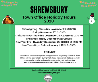 Revised Holiday Schedule for Town Offices