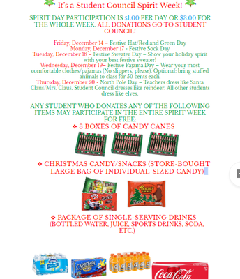 Holiday Spirit Week Days
