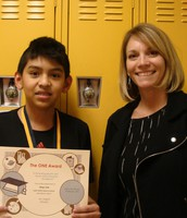 One of our 6th graders who earned the One Award