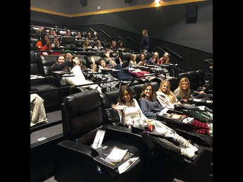 Legacies enjoyed a holiday movie in a private theater