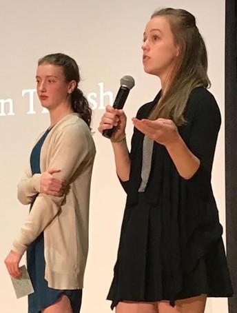 Students give their AP Seminar presentations.