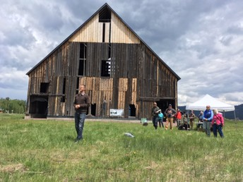 Mr. Rob Wade/Plumas Outdoor Core leader in front of the Olson Barn last Friday during the Bio Blitz.